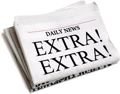 Front page of a folded newspaper that reads 'Extra! Extra!'